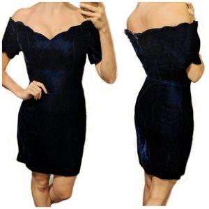 Vintage 80s blue velvet scalloped dress